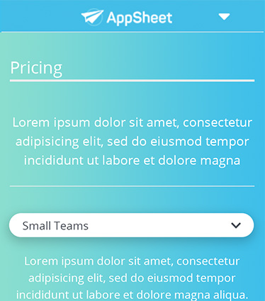 AppSheet Pricing - Mobile 374x425